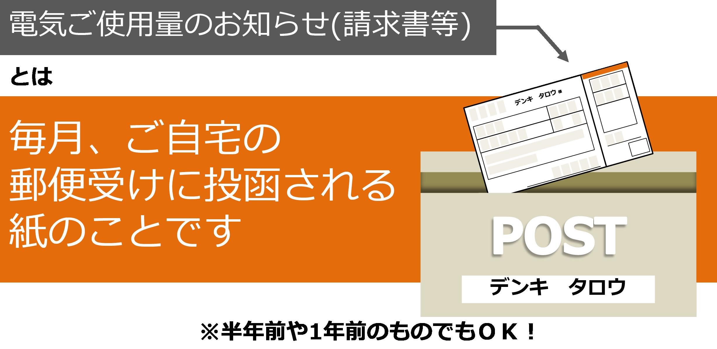 電気ご使用量のお知らせ(請求書等)とは毎月、ご自宅の郵便受けに投函される紙のことです※半年前や1年前のものでもOK!